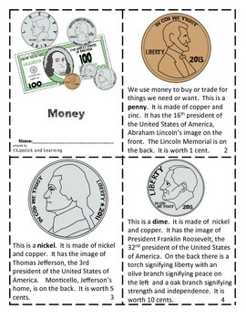 Money Mini Reader, Vocabulary Cards and Foldable