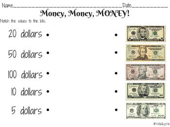 Money, Money, MONEY! $$$ Money Identification Practice Sheets
