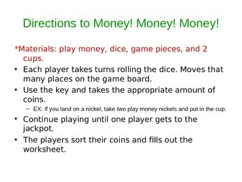 Money!! Money!! Money!! - Counting & Sorting Game