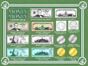 Money! Money! U.S. Currency Bills and Coins Cliparts