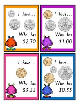 Money Monsters - I have...Who has? Australian Coins!