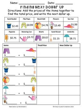 Money: Next Dollar Up Worksheets
