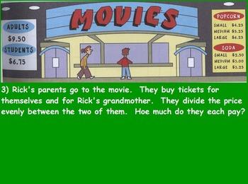 Buying Food - Night at the Movies; Real World Math (SMART BOARD)