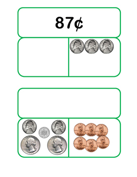 Money Part-Part-Whole Cards Using Mixed Coins 2.MD.C.8