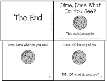 "Money Dime Emergent Reader ""Dime, Dime What Do You See?"" Set"