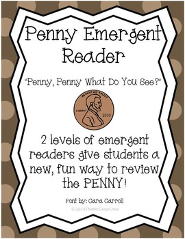 """Money Penny Emergent Reader """"Penny, Penny What Do You See?"""" Set"""