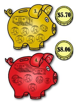 Money - Pigs/Dollars & Coins - Regrouping Coins