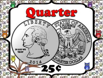 Money Posters - Quarter, Dime, Nickel and Penny - Owls Theme