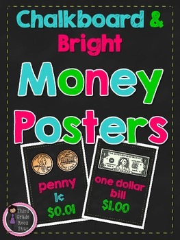 Money Posters ~ United States Coins and Bills (Chalkboard Theme)