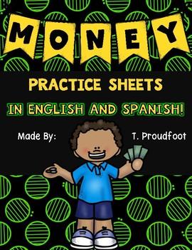 Money Practice Sheets - ENGLISH & SPANISH