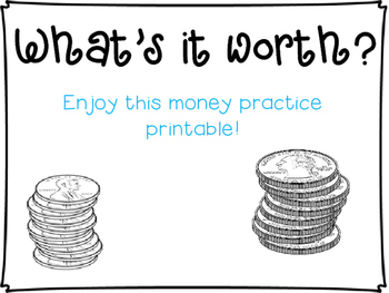 Whats It Worth >> Money Practice What S It Worth Printable