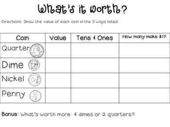 Money Practice: What's it Worth? Printable
