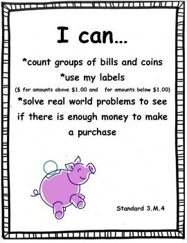 "Money Pre-Test/Post-Test  with ""I Can"" poster"