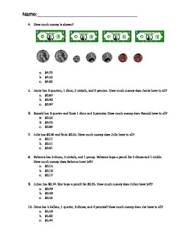 Money Pre and Post Assessment Test for 2nd Grade Common Core