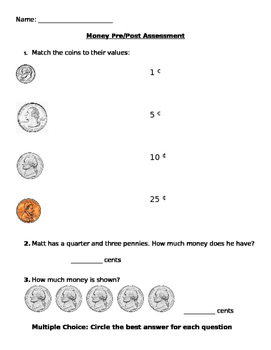 Money Pre and Post assessment