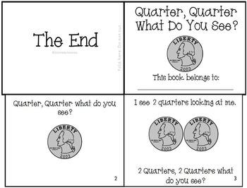 """Money Quarter Emergent Reader """"Quarter, Quarter What Do You See?"""" Set"""