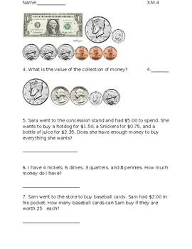 Money Quiz Indiana Standards
