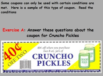 Buying Food - Reading and Understanding Coupons; Real World Math (SMART BOARD)