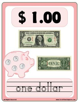 Money Recognition Poster Flash Cards and Make & Take books coins, bills & amount