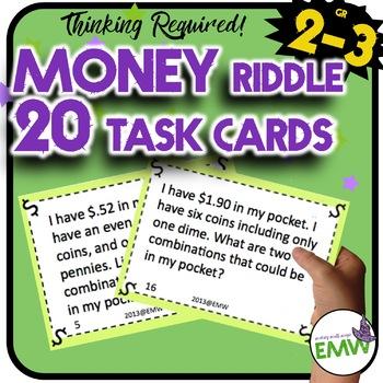 Money Riddle and Logic Task Cards - Higher Level Thinking!