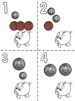 Money Scoot Game: coins: pennies, nickels, dimes and quarters