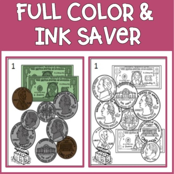 Money Scoot Task Cards (pennies, nickels, dimes, quarters, $1 bills) B&W/Color