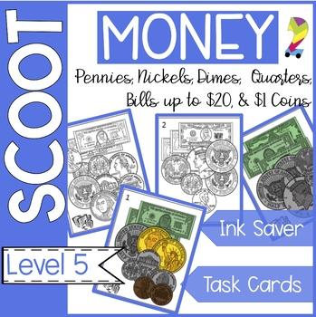 Money Scoot (pennies, nickels, dimes, quarters, bills to $20, half/$1 coins)