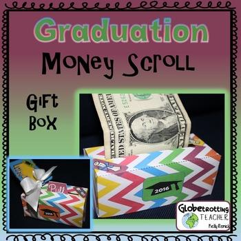 Graduation Gift - Money Scroll Box (Rainbow Chevron)