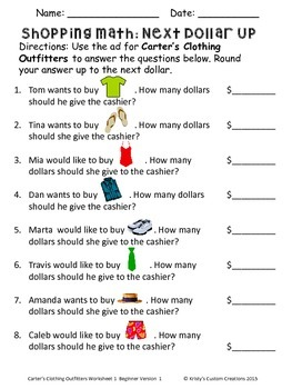 Money Shopping Math Worksheets