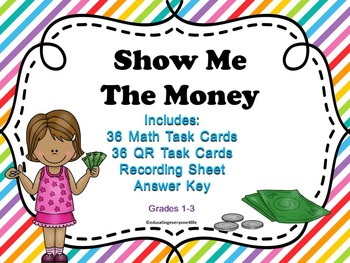 Money:  Show Me The Money Task Cards With QR Codes