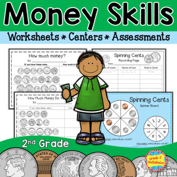 Money Skills for 2nd Grade {3 Centers, Practice Pages and