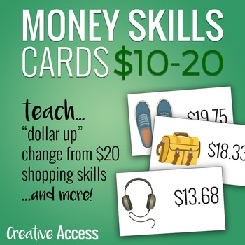 Money Skills for Teens: 30 Product Cards from $10-20. Great for dollar up!