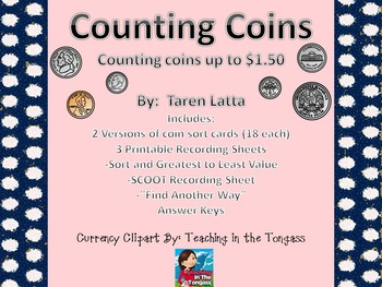 Money Sort- Math Centers and Stations, Coins, Money