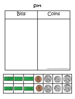 Money Sorting Game (dollars and coins).  Preschool Financial Education.