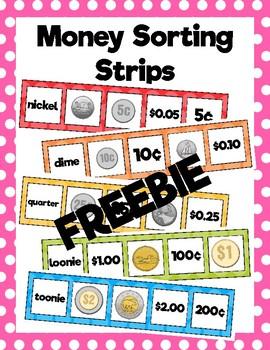 Money Sorting Strips: Freebie