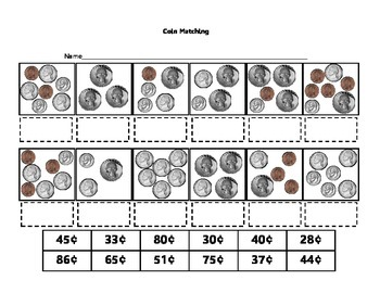 Money - Spring Mixed Coin Matching Cards - with Bonus Worksheet