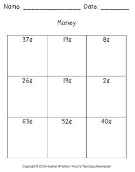 Counting Money Worksheets: Stamp or Model - Coin Values from $0.01 to $1.00