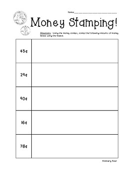 Money Stamping Activity - Counting Coins up to $2.00 - Math Center