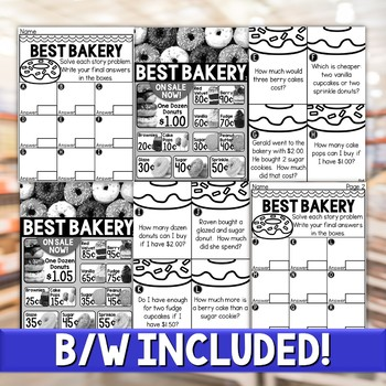 Money Story Problem Task Cards - Bakery