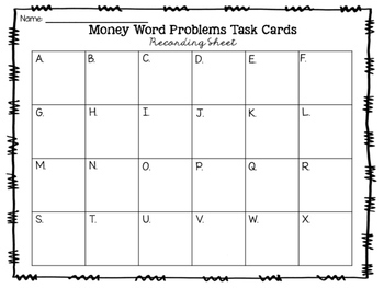 Money Story Problem Task Cards (Coins)