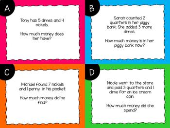 Money Coins Story Problem Task Cards {Digital}