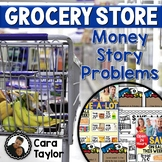 Money Story Problem Task Cards - Grocery Shopping