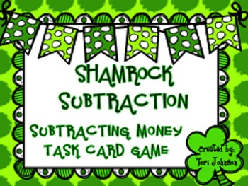 St. Patrick's Day Math Centers Subtraction Task Card Game
