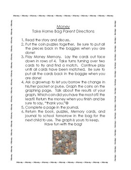 Money Take Home Bag-US coin recognition activities for students & parents