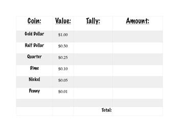 Money Tally Chart