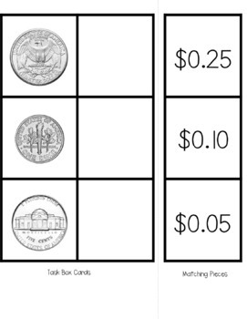 Money Task Boxes (Matching, Real Coins, Values, & Names)