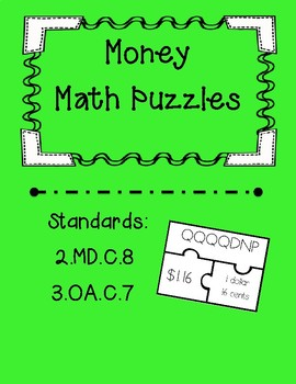 Money Task Card Puzzles