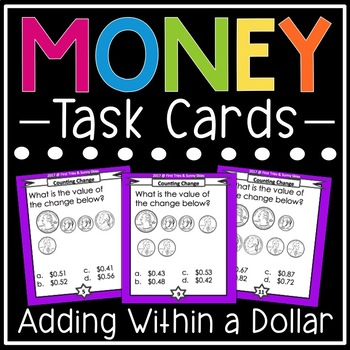 Money Task Cards (Adding Up Change Within a Dollar)