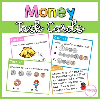 Money Word Problem Task Cards | 1st Grade Math