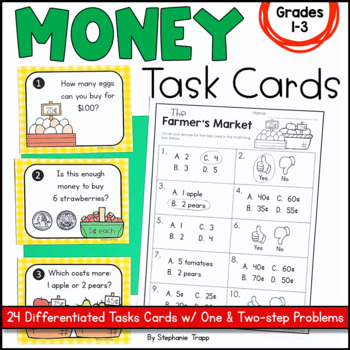 Money Task Cards for First and Second Grade